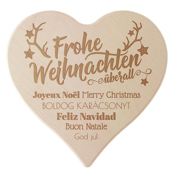 Geschenk zu Weihnachten Holzherz mit Gravur Größe: 24 cm