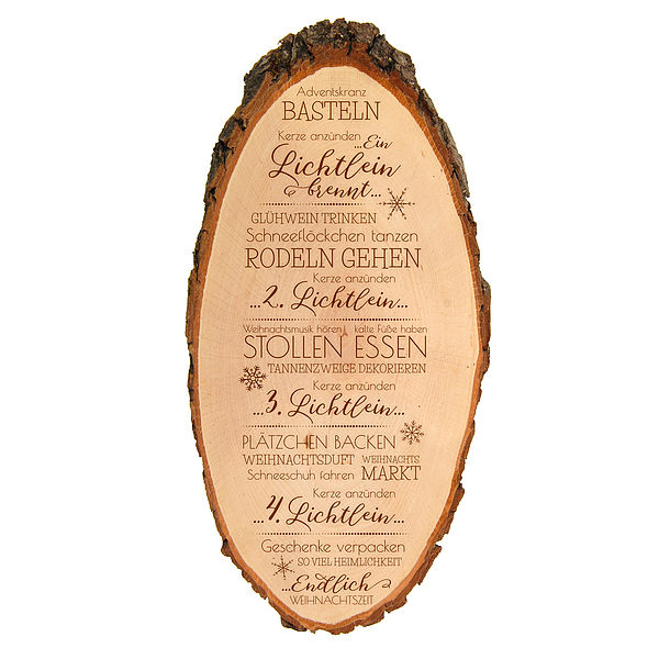 Graviertes Holzschild für Weihnachten Größe: ca. 42 x 17 cm