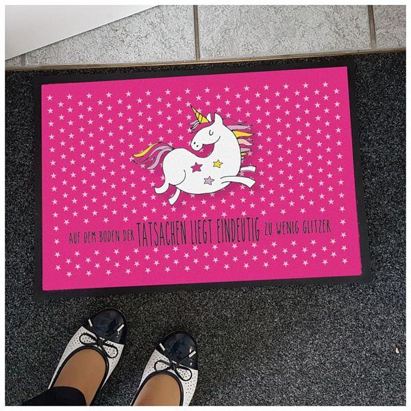Nützlichwohnaccessoires - Einhorn Fußmatte Auf dem Boden der Tatsachen liegt eindeutig zu wenig Glitzer - Onlineshop 1a Geschenkeshop