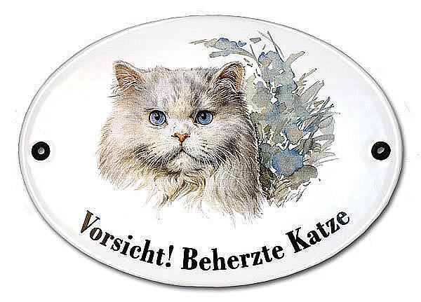 Katzenschild Vorsicht beherzte Katze aus Emaille 18,3 x 14,3 cm