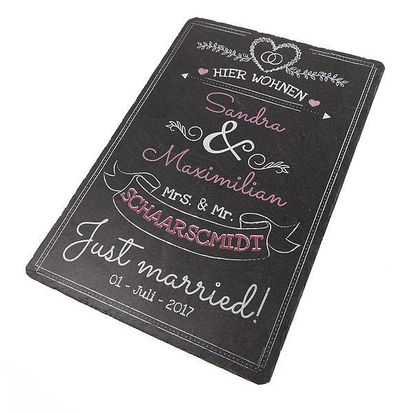 Hochzeitsgeschenk - bedruckte Schiefertafel mit Wunschtext rosa