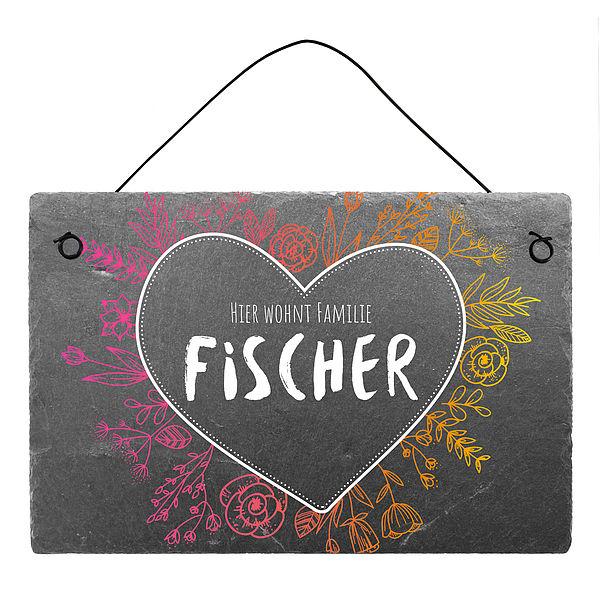 Türschild aus farbig bedrucktem Schiefer mit Herz und Familiennamen 300 x 200 mm