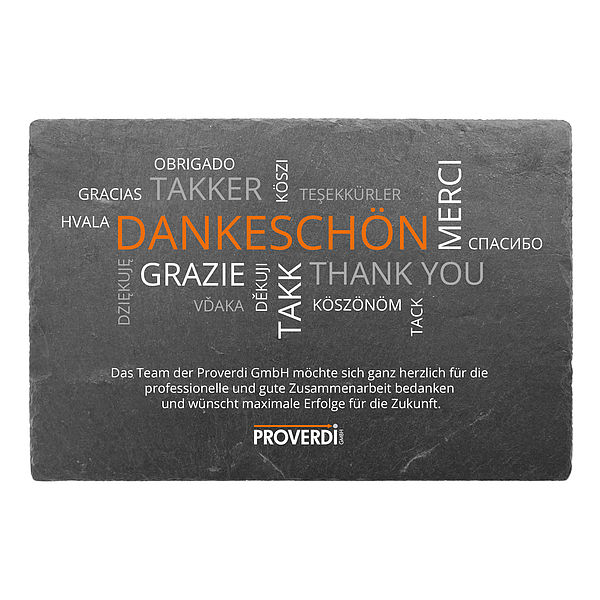 Danke sagen per bedrucktem Schild aus Schiefer mit Logo 300 x 200 mm