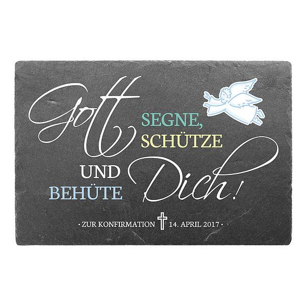 Konfirmationsgeschenk oder Kommuniongeschenk aus Schiefer 300 x 200 mm
