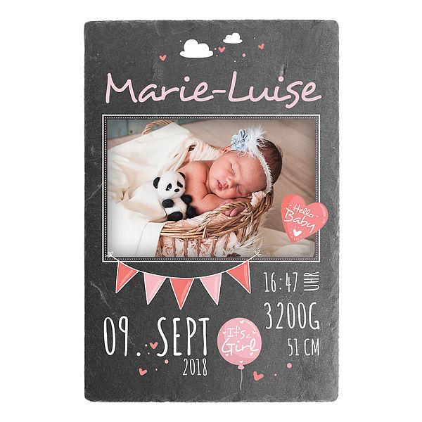 Individuellfotogeschenke - Geschenk zur Geburt eines Babys Schieferschild mit Foto 200 x 300 mm Design für Mädchen - Onlineshop 1a Geschenkeshop