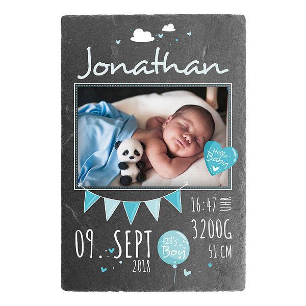 Individuellfotogeschenke - Geschenk zur Geburt eines Babys Schieferschild mit Foto 200 x 300 mm Design für Jungen - Onlineshop 1a Geschenkeshop