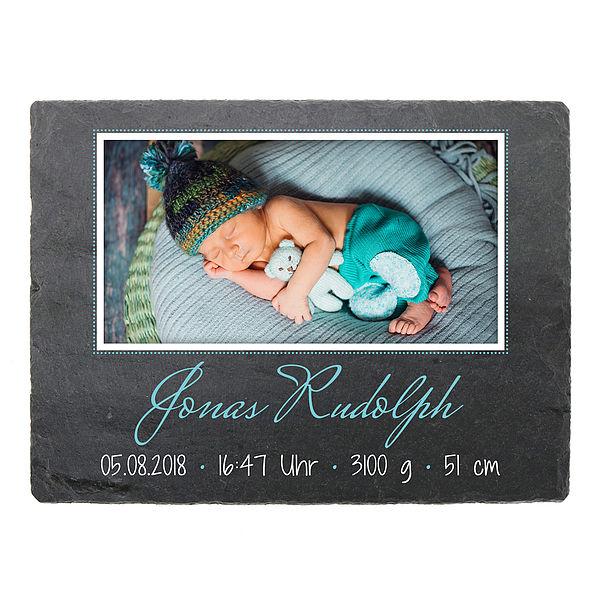 Individuellfotogeschenke - Geschenk zur Geburt eines Kindes Schieferschild mit Foto Daten 200 x 150 mm Design Junge - Onlineshop 1a Geschenkeshop