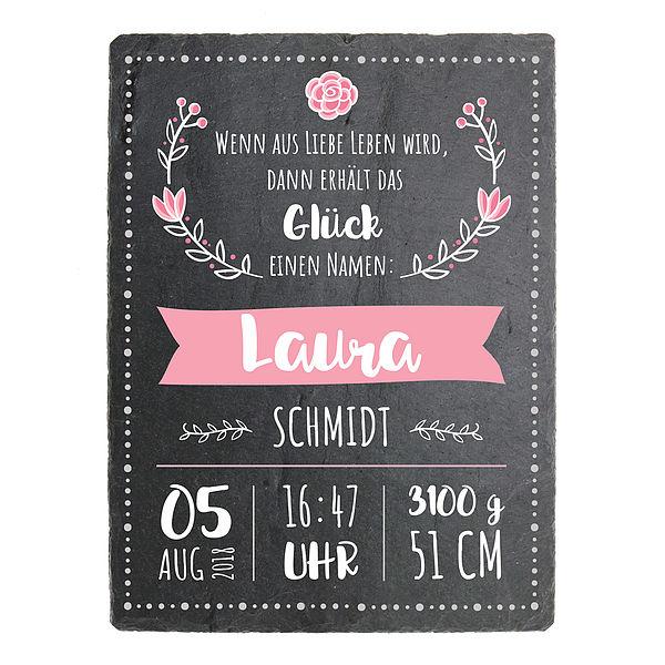 Geschenk zur Geburt eines Mädchens Schieferschild mit Aufdruck- 150 x 200 mm - Design Mädchen