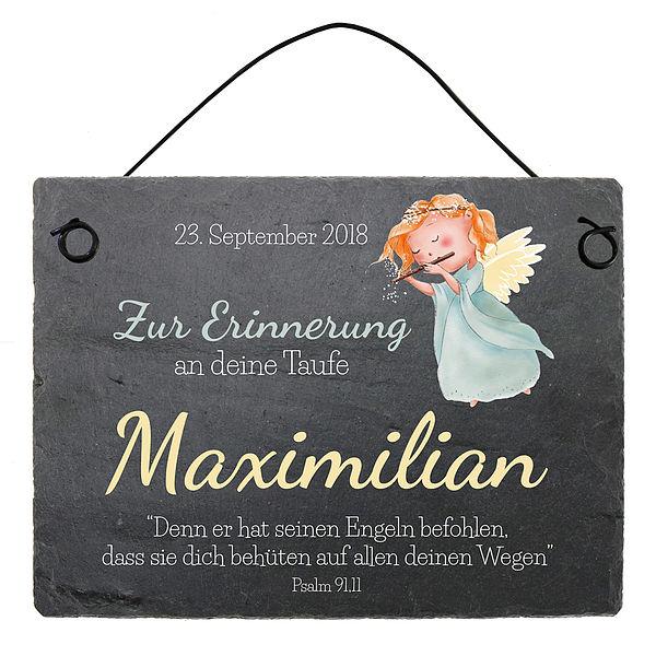 Taufgeschenk Schieferplatte mit Name, Datum und Taufspruch 200 x 150 mm