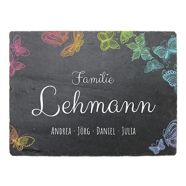 Farbig bedrucktes Schiefertürschild mit Schmetterlingen und Namen 200 x 150 mm