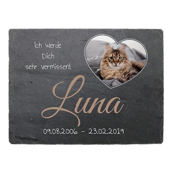 Gedenktafel zur Erinnerung für Ihre Katze aus Schiefer mit Foto 200 x 150 mm - Querformat mit Foto in Herzform
