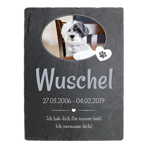 Individuellfotogeschenke - Schiefer Gedenkplatte für Hunde zum Andenken mit Foto 150 x 200 mm Hochformat mit ovalem Foto - Onlineshop 1a Geschenkeshop