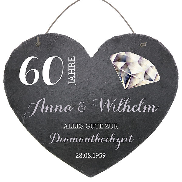 Schieferherz zum 60. Hochzeitstag Diamantene Hochzeit Größe 24 cm Diamantene Hochzeit