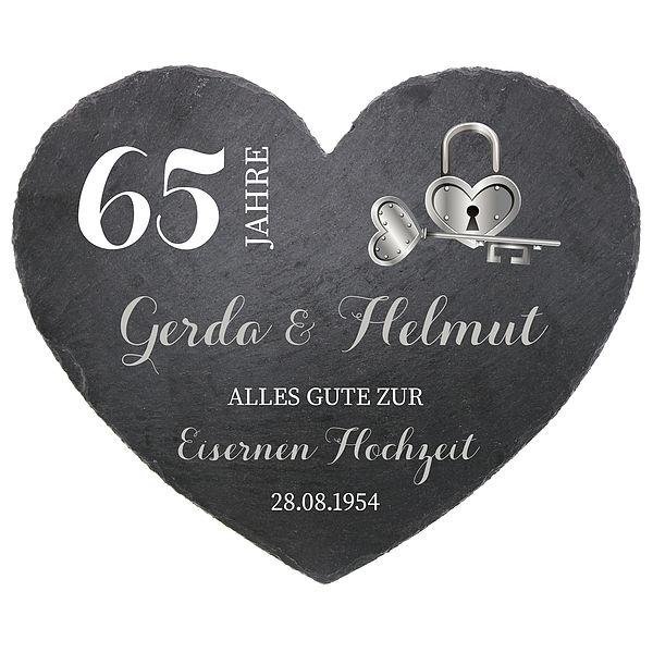 Schieferherz zum 65. Hochzeitstag Eisenere Hochzeit Größe 24 cm Eiserne Hochzeit