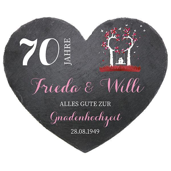 Schieferherz zum 70. Hochzeitstag Gnadenhochzeit Größe 24 cm Gnadenhochzeit