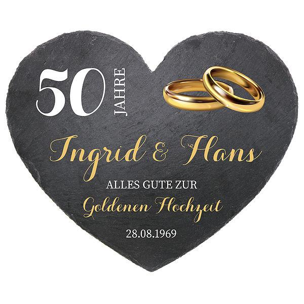Schieferherz zum 50. Hochzeitstag Goldenen Hochzeit Größe 24 cm Goldene Hochzeit