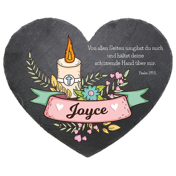- Geschenk zur Taufe farbig bedrucktes Herz aus Schiefer in der Größe 24 cm Geschenk zur Taufe - Onlineshop 1a Geschenkeshop