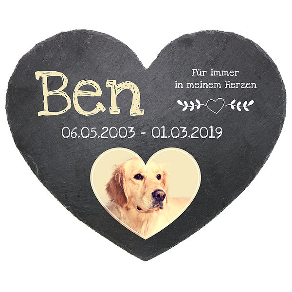 Individuellfotogeschenke - Gedenktafel Schieferherz mit Foto von Ihrem Haustier 24 cm Motiv Hund - Onlineshop 1a Geschenkeshop