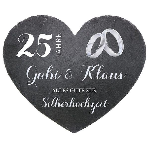 - Schieferherz zum 25. Hochzeitstag Silberne Hochzeit Größe 24 cm Silberhochzeit - Onlineshop 1a Geschenkeshop