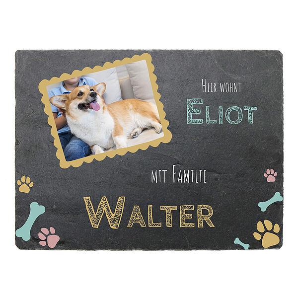 Individuellfotogeschenke - Türschild aus Schiefer mit Foto, Name und Hundename - Onlineshop 1a Geschenkeshop