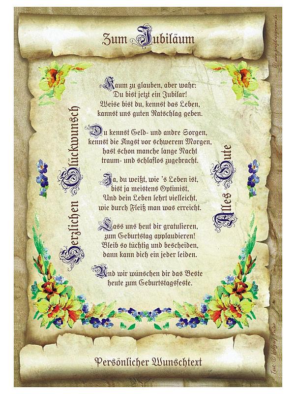 Urkunde zum Jubiläum mit Ihrem Wunschtext - Geschenke ...