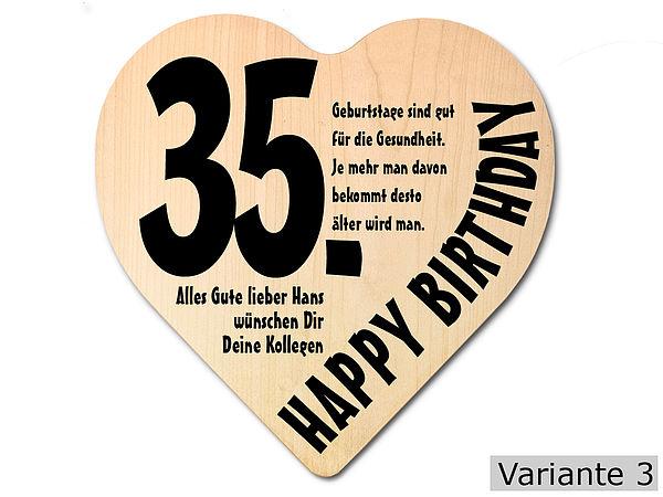Geschenk zum 35. Geburtstag: Herz Holzschild mit ...