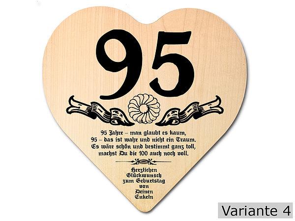 Geschenk zum 95 geburtstag herz holzschild mit for Geschenke zum 85 geburtstag