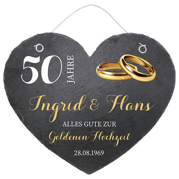 Schieferherz Zum 50 Hochzeitstag Goldenen Hochzeit Grosse 24 Cm Goldene Hochzeit Online Geschenkeshop Mit Schraubenmannchen Mit Widmung Und Mehr