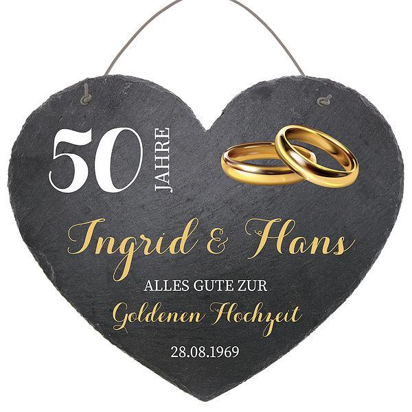 Schieferherz Zum 50 Hochzeitstag Goldenen Hochzeit Größe 24 Cm Goldene Hochzeit Geschenke Online Kaufen Individuelle Und Personalisierte