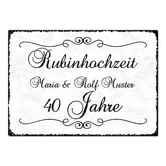 Geschenk Zum 40 Hochzeitstag Schild A4 Mit Individuellem