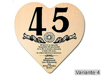 Geschenk Zum 45 Geburtstag Herz Holzschild Mit Wunschtext Online