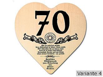 Geschenk Zum 70 Geburtstag Herz Holzschild Mit Wunschtext Online