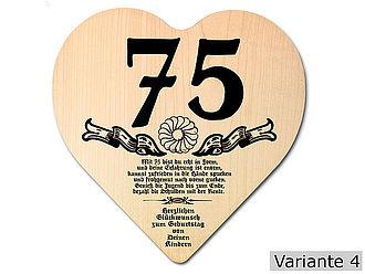 Geschenk Zum 75 Geburtstag Herz Holzschild Mit Wunschtext Online