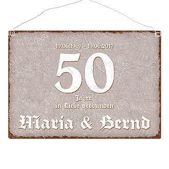 Schild Goldene Hochzeit Und Namen Im Format A3 Taupe