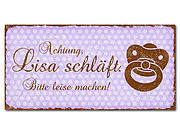 Dekoschild im Retro Look mit Polka Dots 300 x 150mm violett